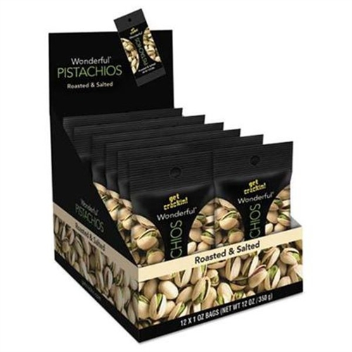 Paramount Farms Wonderful Pistachios, Roasted & Salted, 1 oz Pack, 12 Box 072142A25X by Paramount Farms