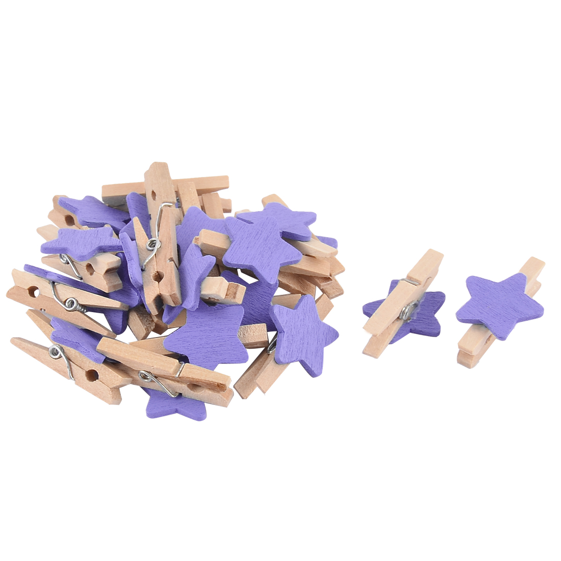 Unique Bargains Star Pattern Paper Photo Holder Spring Pegs Mini Wooden Clip Purple 20pcs