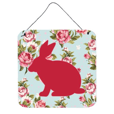 Rabbit Shabby Chic Blue Roses Wall or Door Hanging Prints (Rosy Rabbit)