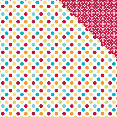 Sunshine Double Sided Cardstock 12 X12  Dots Red   White Trellis
