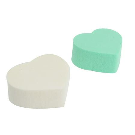 Unique Bargains 2 Pcs Heart Shaped Sponge Powder Puff Facial Face Pad Makeup Tool Women Lady Green White