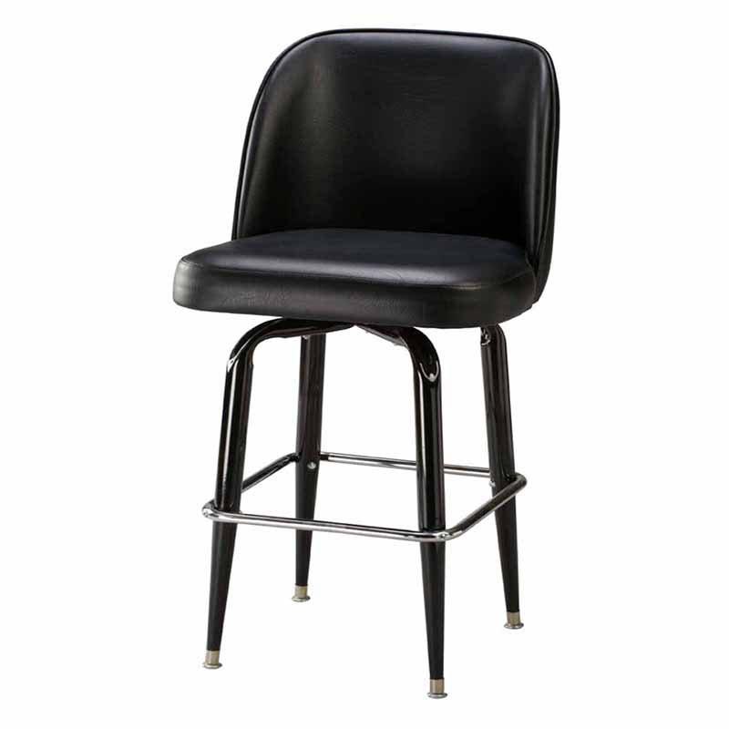 Regal Bucket Seat Large 26 in. Square Frame Black Metal Counter Stool