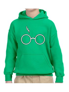 New Way 836 - Youth Hoodie Harry Potter Glasses Scar Lightning Bolt Unisex Pullover Sweatshirt Large Kelly Green