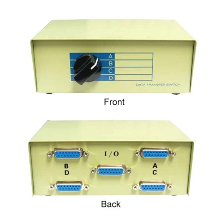 Db15 Switch (Kentek DB15 4 Way Manual Data Switch Box 15 Pin I/O ABCD Female Port for PC MAC Monitors MIDI Devices Peripherals)