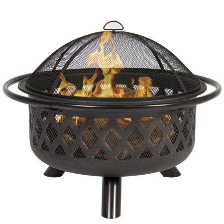 Best Choice Products Outdoor 36-inch Firebowl Fire Pit Stove with Bronze Finish and Flame Retardant Spark Arrestor, Black ()
