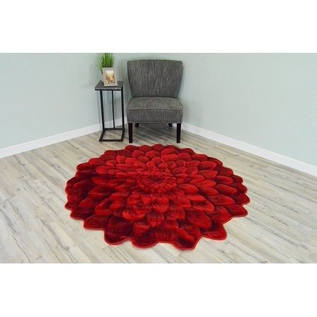 Hand Carved Vintage Roses (FLOWERS 3D Effect Hand Carved Thick Artistic Floral Flower Rose Botanical Shape Area Rug Design 303 Red 5'3''x5'3'' Round)