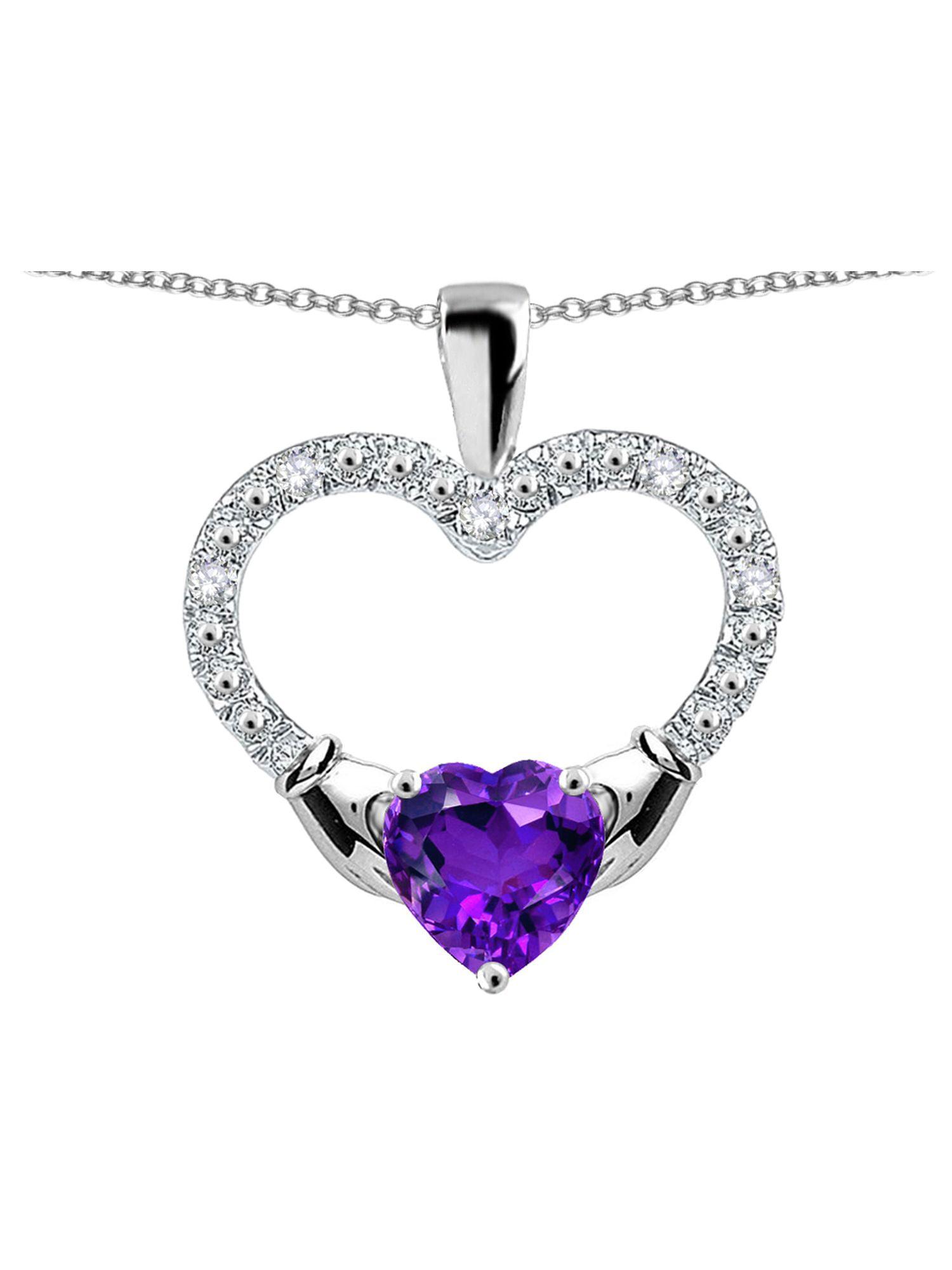 Star K Hands Holding Heart Genuine Amethyst Claddagh Pendant Necklace
