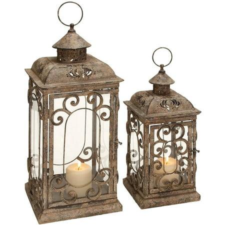 Decmode Metal and Glass Lantern, Set of 2, Multi - Lantern Ring Colors