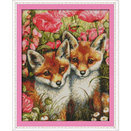 DIY Handmade Needlework Counted Cross Stitch Set Embroidery Kit 14CT Lovely Foxes Pattern Cross-Stitching 35 * 44cm Home -