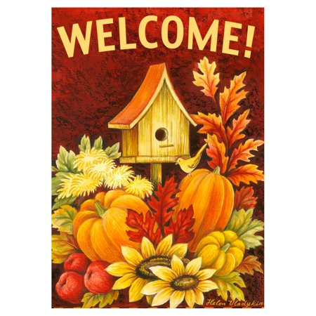 Double Sided Appliqued Garden Flag (Toland Home Garden Fall Birdhouse Double Sided Flag)