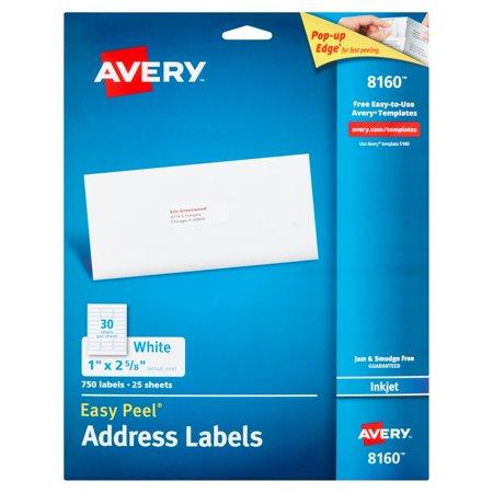 Avery 8160 Easy Peel White Inkjet Address Labels  750 Count