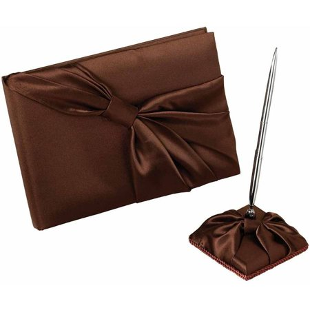 Lillian Rose Brown Satin Guest Book & Pen Set