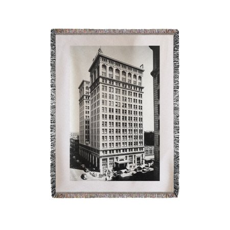 Spokane  Wa View Of Old National Bank Building Photograph  60X80 Woven Chenille Yarn Blanket