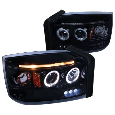 Spec-D Tuning For 2005-2007 Dodge Dakota Replacement Glossy Black Dual Halo Led Projector Headlights Lamps (Left+Right) 2005 2006 2007