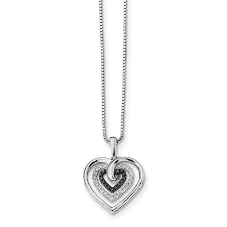 Sterling Silver Black and White Diamond Heart Pendant Necklace 18 Inch - image 3 of 3