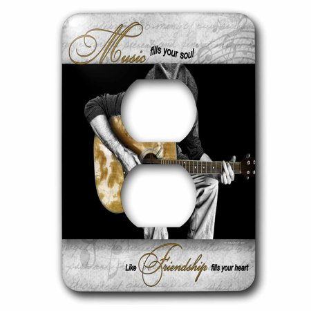 3dRose Music Fills Your Soul Guitar Musician 2 Plug Outlet Cover lsp 4