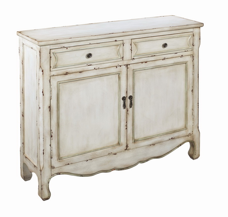 "Two Drawer Two Door Cupboard H35.50"", Cream"