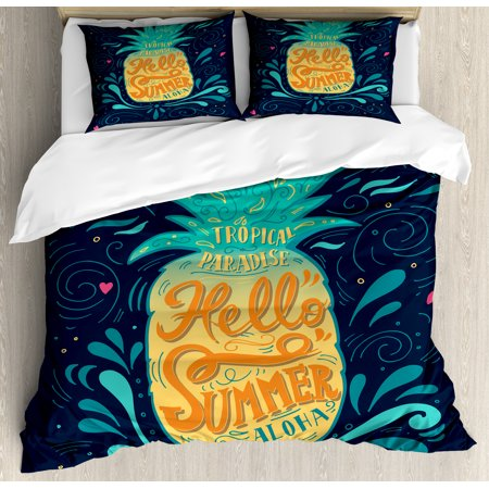 Tropical Queen Size Duvet Cover Set, Hello Summer Quote Pineapple with Hearts Swirls and Teardrop Shapes Background, Decorative 3 Piece Bedding Set with 2 Pillow Shams, Multicolor, by Ambesonne