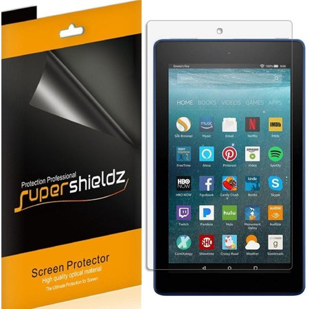 [3-pack] Supershieldz for Amazon All-New Fire HD 8 Tablet  (7th Gen - 2018/2017 release) Screen Protector, Anti-Bubble High Definition (HD) Clear Shield ()