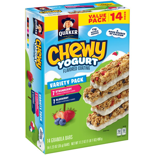 Quaker Chewy Yogurt Strawberry/Blueberry Granola Bars, 1.23 oz, 14 count