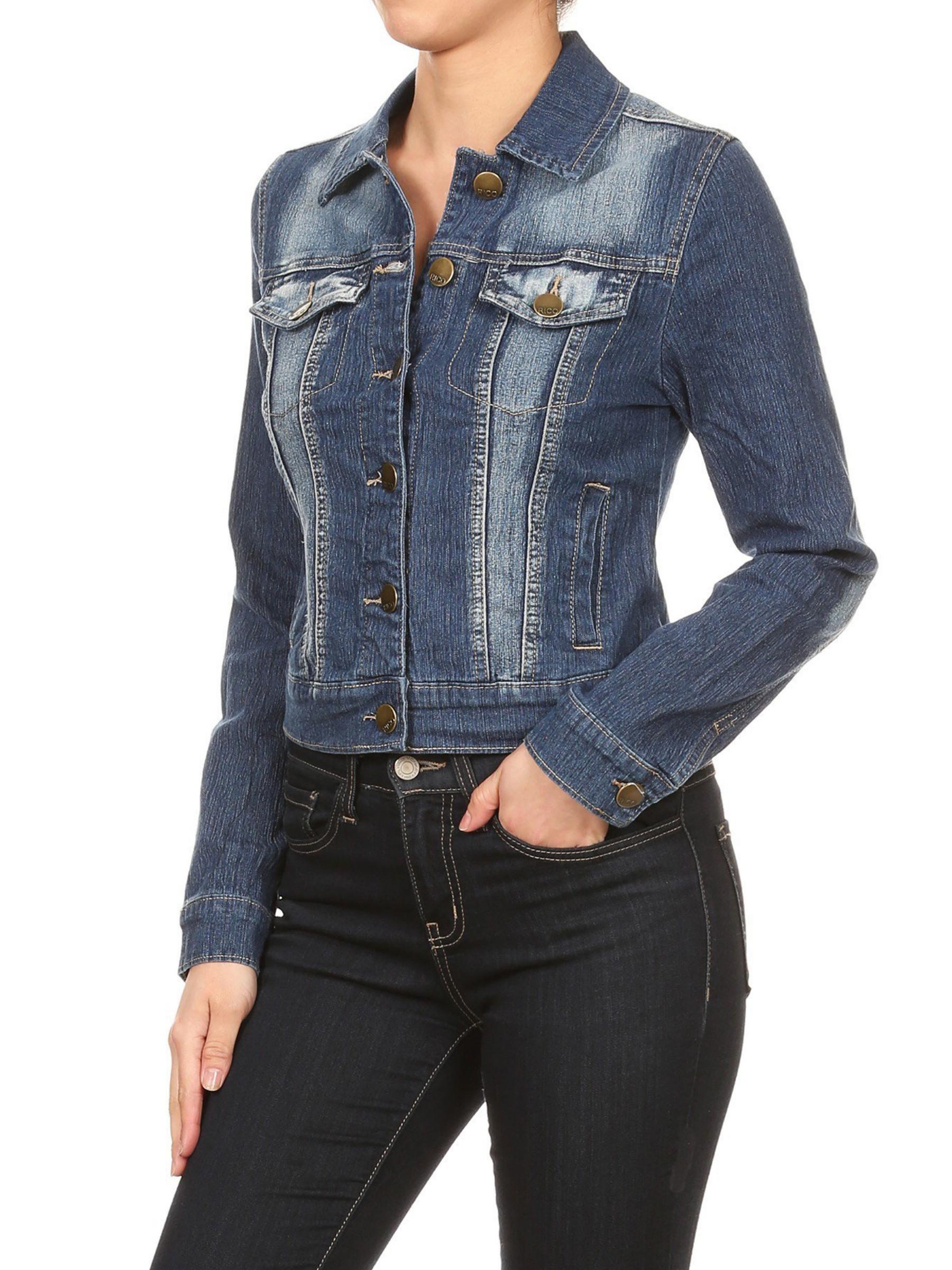 Women/'s Juniors Premium Stretch Denim Long Sleeve Jacket