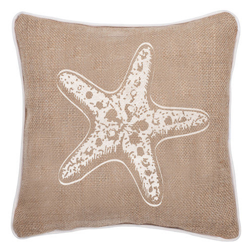 Occasionally Made Coastal Home Indoor/Outdoor Starfish Burlap Throw Pillow