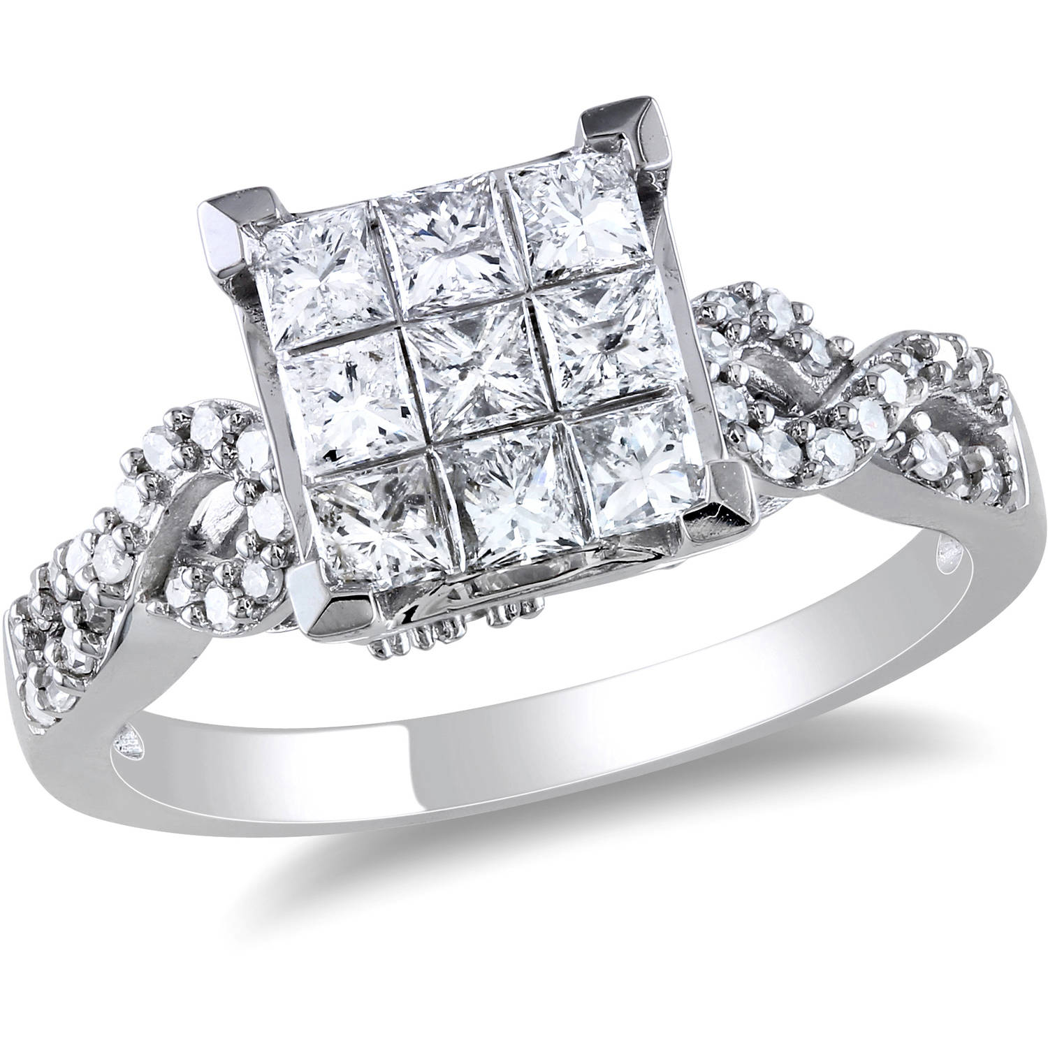 1 Carat T.W. Princess and Round Cut-Diamond Engagement Ring in 10kt White Gold