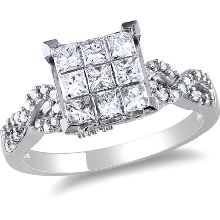 1 Carat T.W. Princess and Round Cut-Diamond Engagement Ring in 10kt White