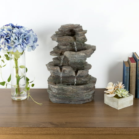 Pure Garden Tiered Stone Tabletop Fountain with Rock Waterfall and LED Lights