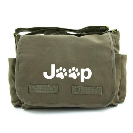 Jeep Wrangler Cat Dog Paw Prints Army Heavyweight Canvas Messenger Shoulder Bag