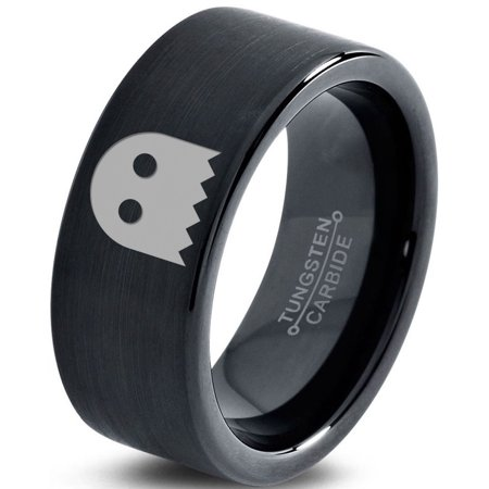 Tungsten Ghost Blanket Eyes Looking Band Ring 9mm Men Women Comfort Fit Black Flat Cut Brushed Polished
