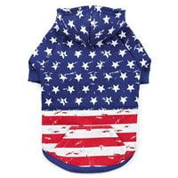 Zack & Zoey UM6404 16 Distressed-Look American Flag Dog Hoodie - Medium
