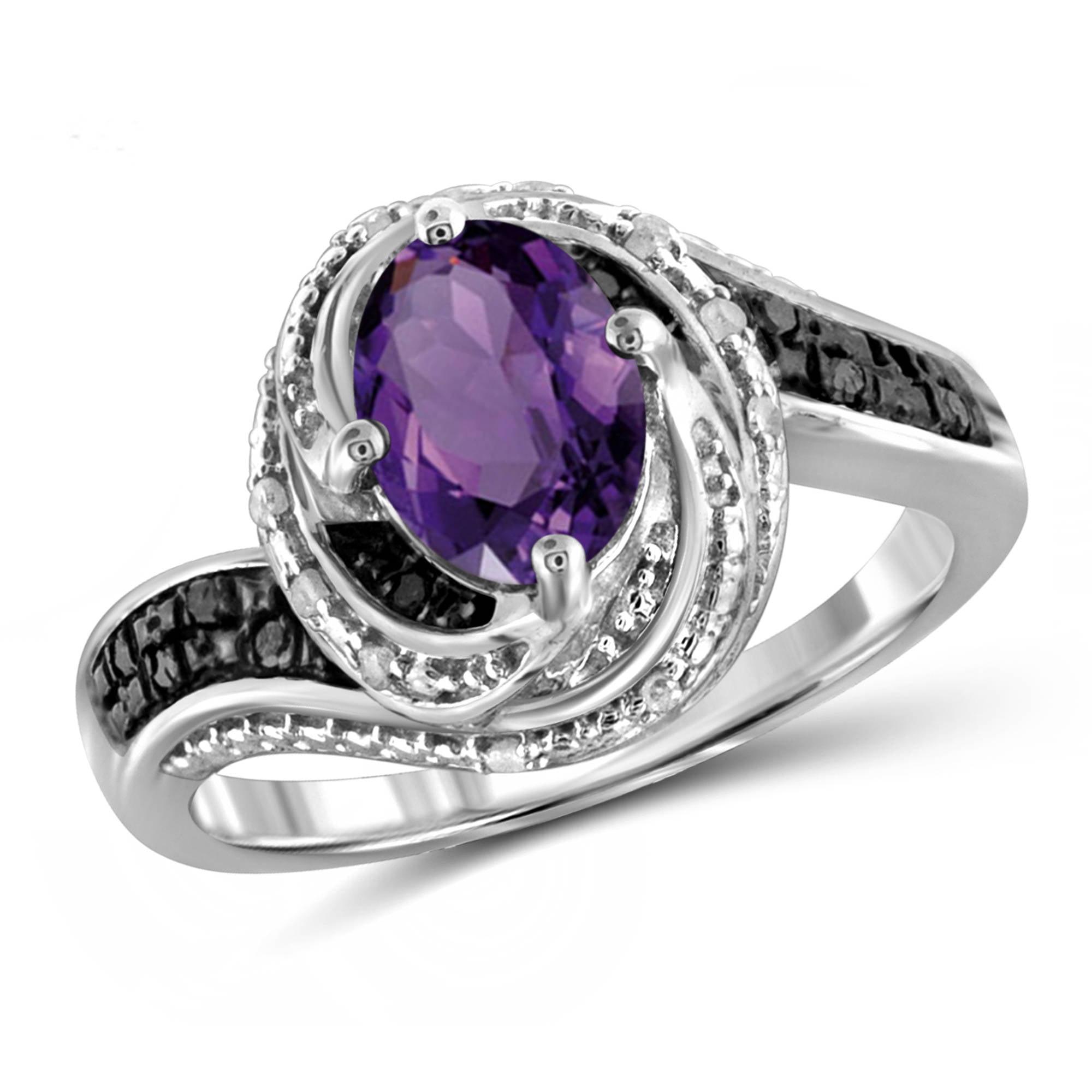JewelersClub 1.35 Carat Amethyst Gemstone and 1/10 Carat Black and White Diamond Ring