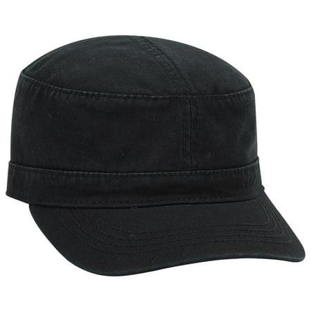 OTTO Garment Washed Superior Cotton Twill Military Cap - Black