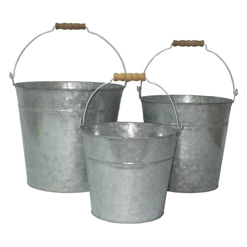 Cheungs 3 Piece Galvanized Bucket Set