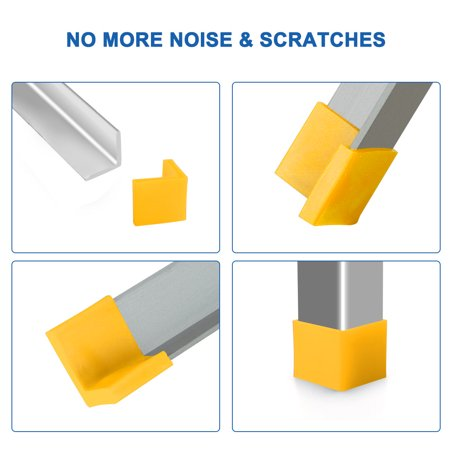 40mm x 40mm Angle Iron Foot Pad L Shaped Plastic Leg Cap Protector Yellow 4pcs - image 3 de 7