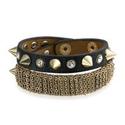 Biker Spike Studded Rivet Mesh Gold Plated Stainless Steel Double Wrap Genuine Brown Leather Cuff Bracelet For Women
