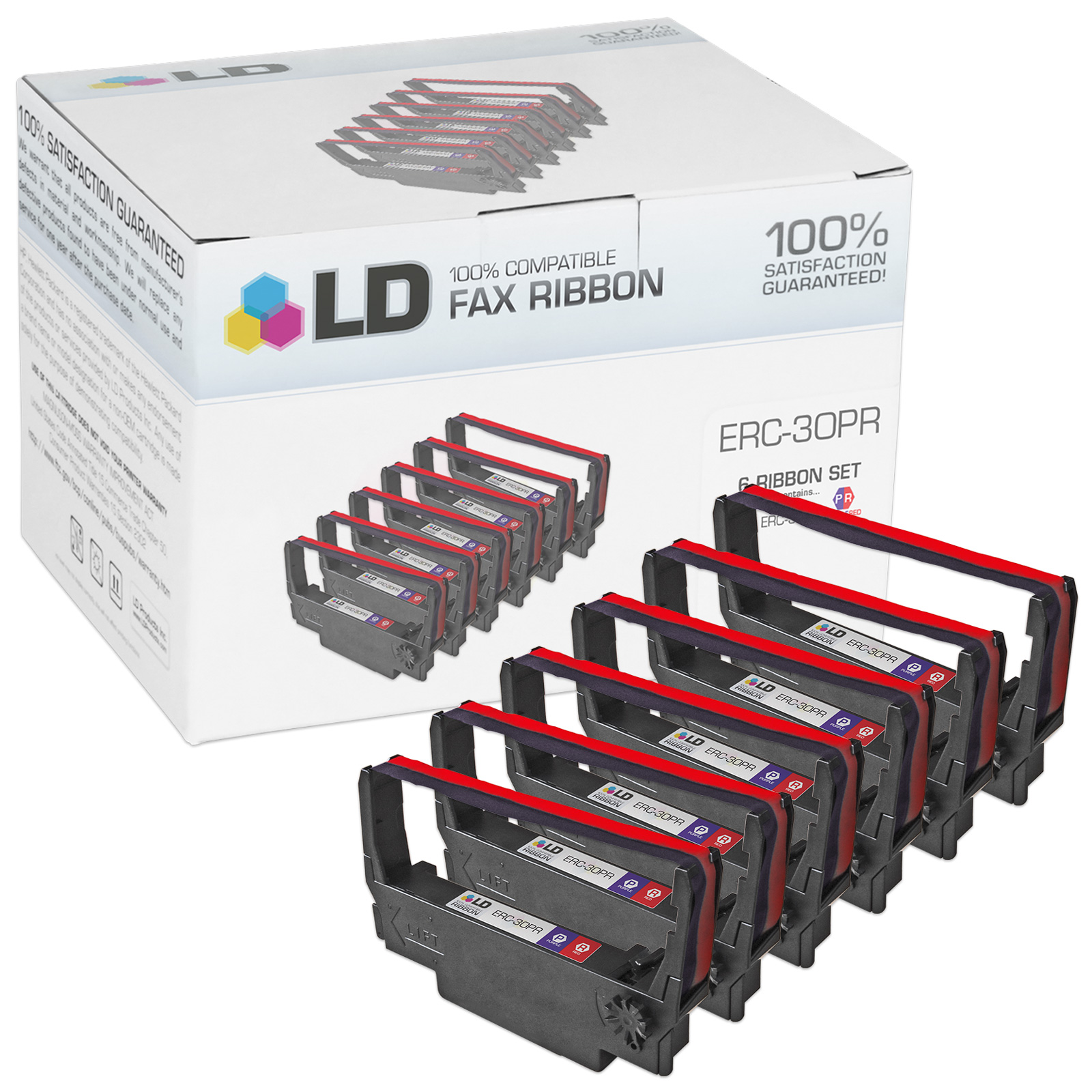 LD /© Comp Replacements for Epson ERC-09P Set of 18 Purple POS Ribbon Carts