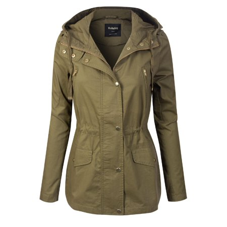 Made by Olivia Women's Lightweight Front Zipper Solid Utility Anorak Hoodie Jacket Light Olive -