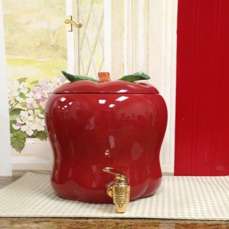 Tuscany Red Apple Shaped Kitchen Decor, Ceramic Water/Bev...