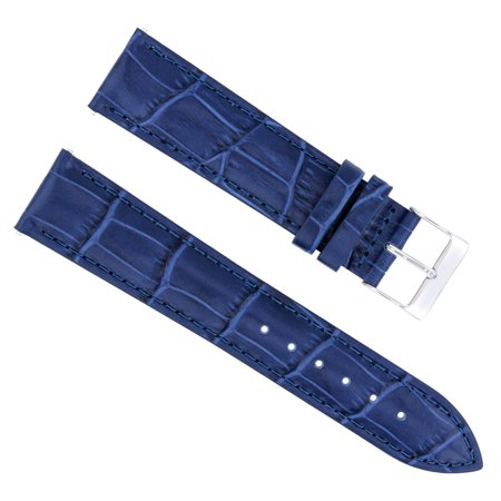 22MM ITALIAN LEATHER WATCH STRAP BAND FOR BREITLING NAVITIMER, COLT, PILOT BLUE (22mm Leather Watch Bands)