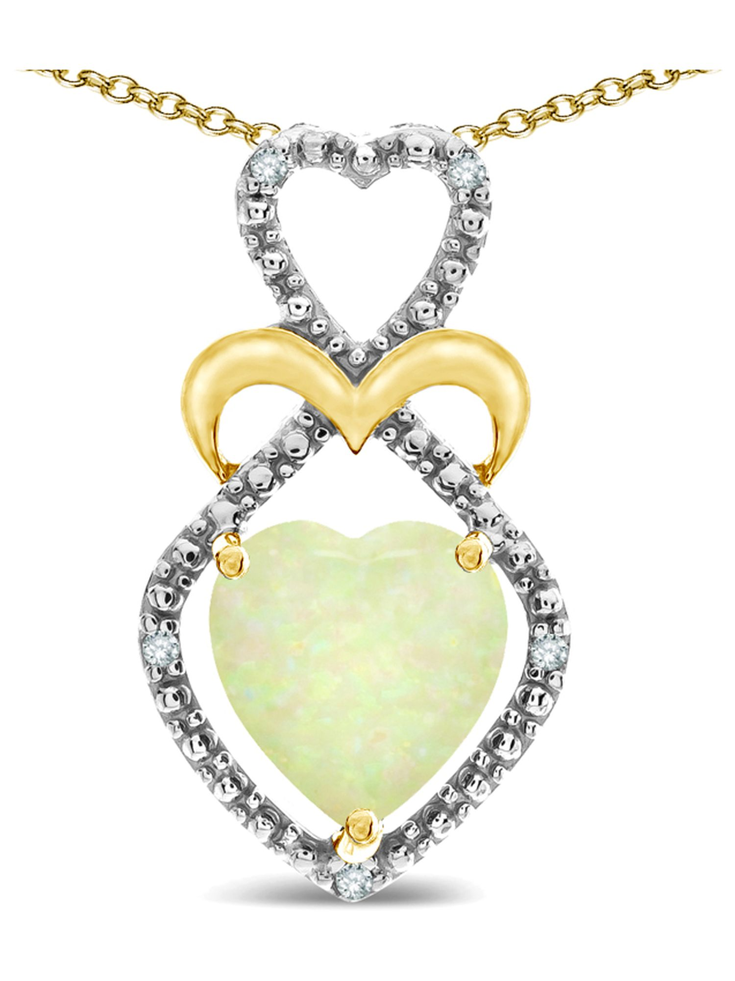 Star K Heart Shape 8mm Opal Heart Halo Embrace Pendant Necklace 14k Yellow Gold with Rhodium Finish