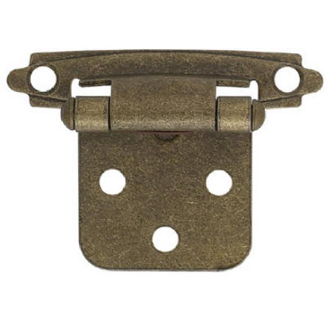 H0103BV-AB-O2 2 Pack Antique Brass Self Closing Overlay Hinge - 2 x 0.75 in.