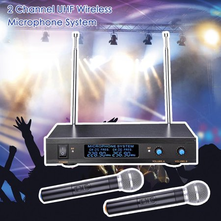 2 Channel VHF Handheld Wireless Microphone System LCD Display 1/4