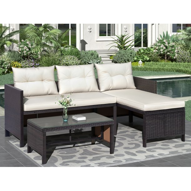 Clearance 3 Pieces Patio Furniture, Patio Sofa Table