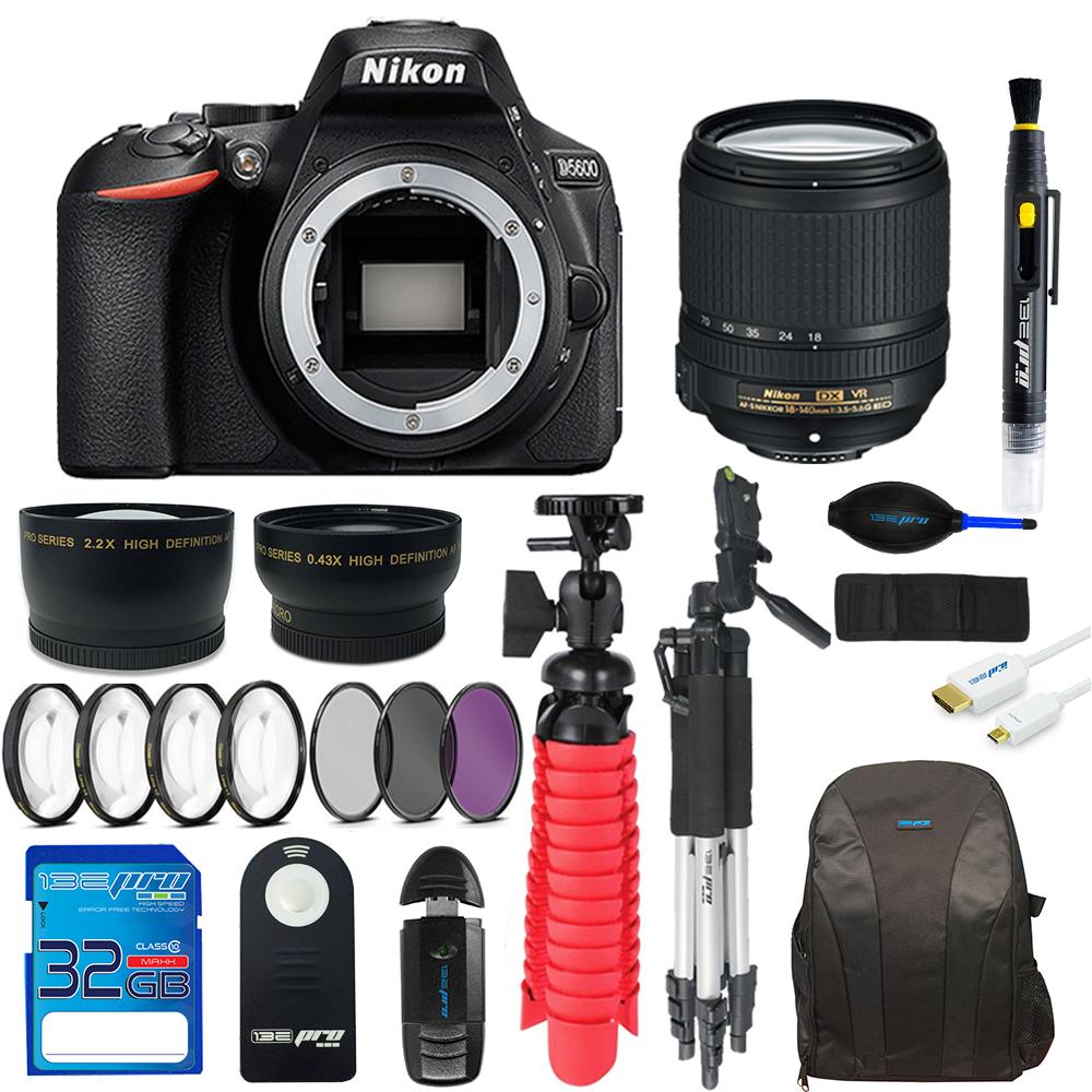 Nikon D5600 DSLR Camera + Nikon AF-S DX NIKKOR 18-140mm f/3.5-5.6G ED VR Lens + 32GB SD Card + Backpack + 2x Tripod + Pixi Advanced Bundle Kit
