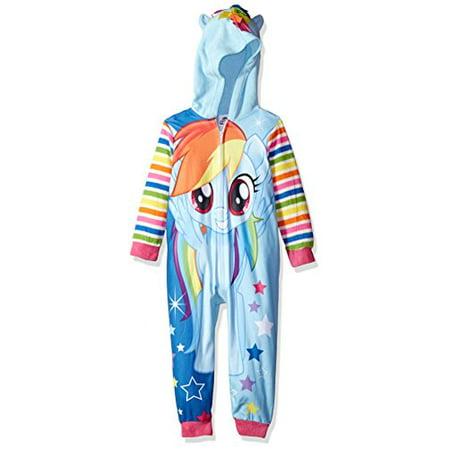 My Little Pony Big Girls' Hooded Blanket Sleeper, Rainbow Blue, 8