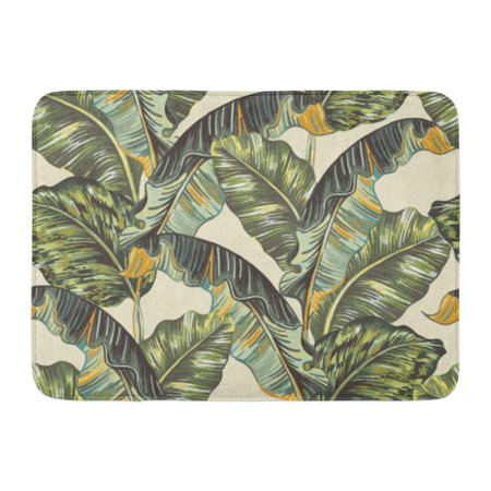 SIDONKU Green Banana Tropical Palm Leaves Jungle Leaf Floral Pattern Beige Vintage Doormat Floor Rug Bath Mat 23.6x15.7 inch](Jungle Leaf)