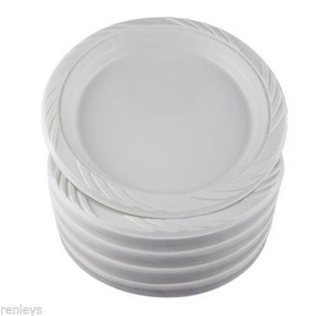 100 White 9 Plastic Party Plates Disposable Dinner Wedding Dishes