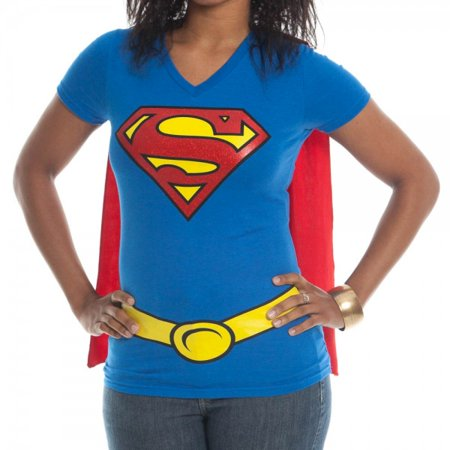 2ab8fed2 DC - Supergirl Caped Glitter Womens V-Neck T-Shirt Costume Superman DC  Comics - Walmart.com